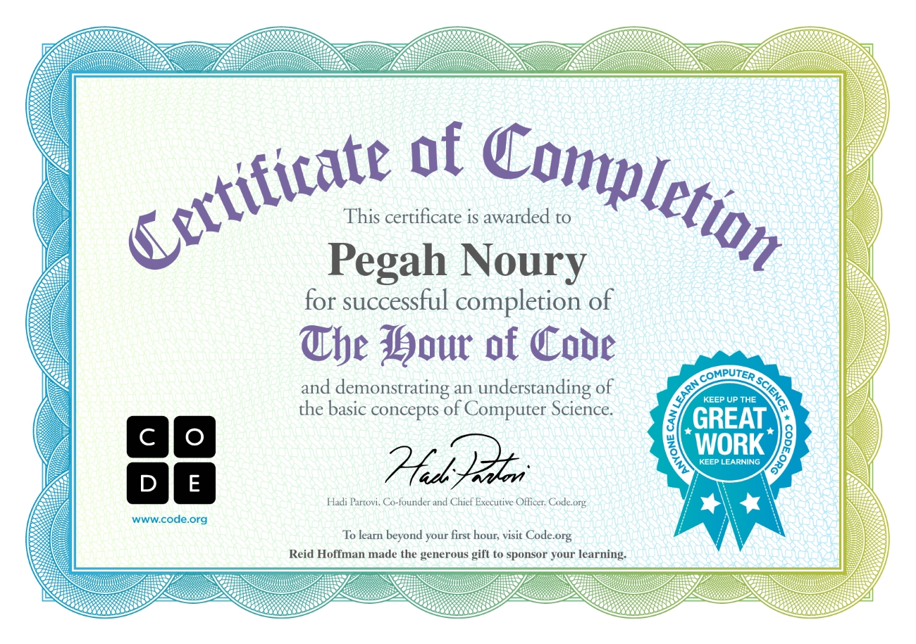 Code.org Hour of Code certificate