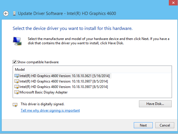 Device Manager - Revert to old driver software