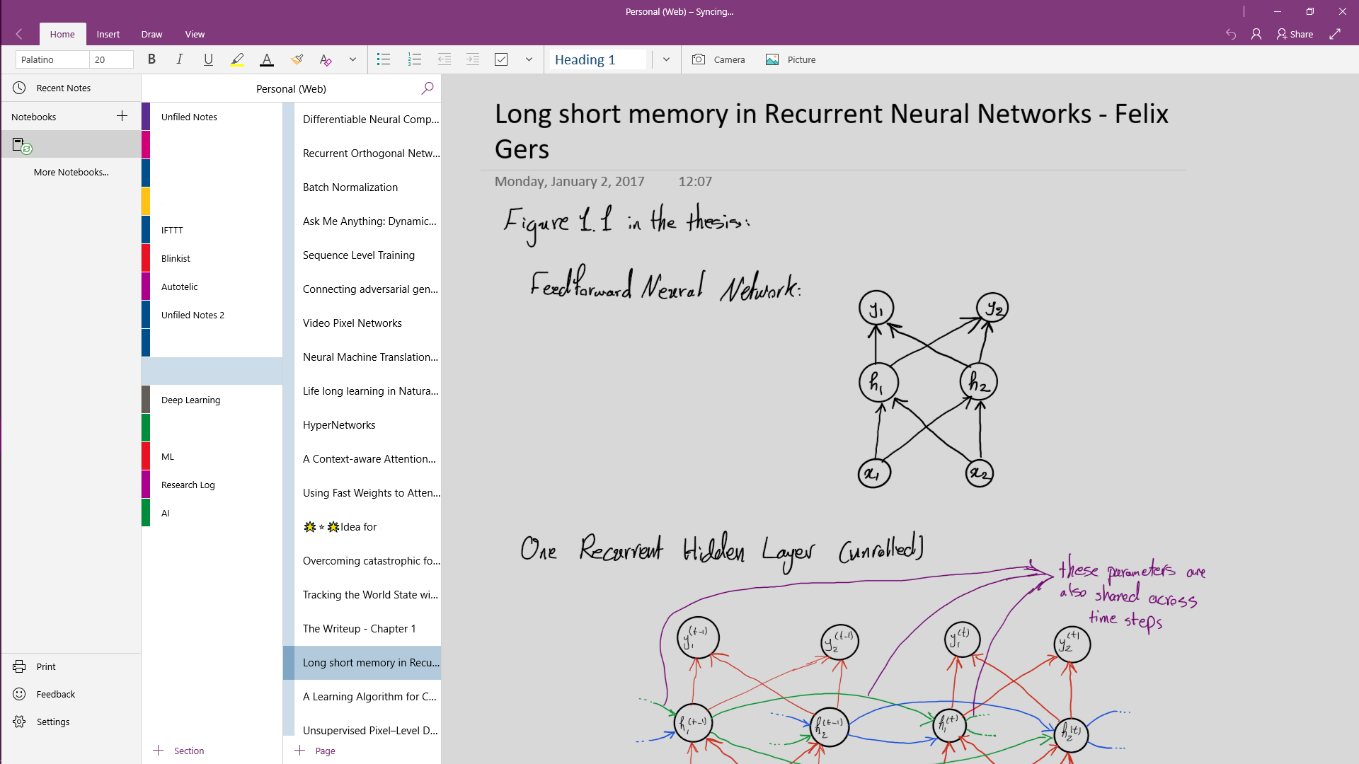 Taking notes in OneNote